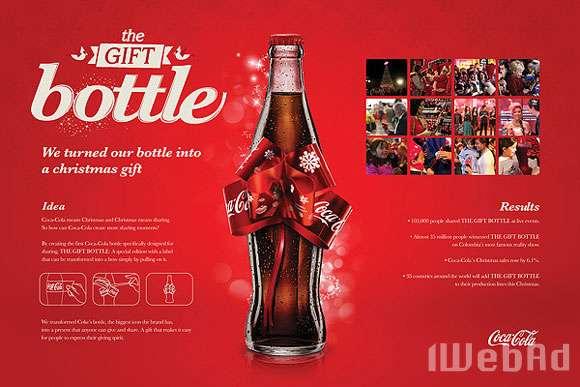 可口可乐圣诞节广告 圣诞礼花瓶图片
